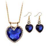 Pozłacany zestaw biżuterii dla kobiet Kryształowe serce naszyjnik kolczyki Biżuteria Akcesoria ślubne