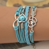 Fashion Multi-layer Alloy Leather Heart-shaped Cupid Arrow Woven Bracelet for Women Jewelry