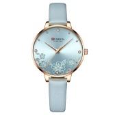女性クォーツウォッチカレン女性ファッションアナログ腕時計3ATM防水レディースウォッチレザーウォッチストラップ付き