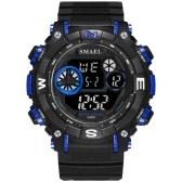 SMAEL 1317 Multifunction Stylish Sport Watch 50M Waterproof Men Electronic Digital Wristwatch with Time/Alarm/Week/Date/Luminous/12(24)-Hour