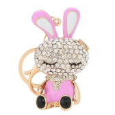 Lovely Rhinestone Crystal Rabbit Bunny Animal Charm Pendant Car Key Chain Keyring for Bag Purse Gift