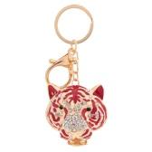 Mode Crystal Strass hohlen niedliche Tier Tiger Kopf Anhänger Schlüsselanhänger Auto Schlüsselanhänger Tasche Handtasche Charm Zubehör Geschenk