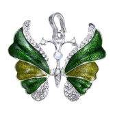 Elegante Luxus-Weissgold galvanisiert Schmetterling Anhänger Kette Halskette Mode Strass Schmuck Zubehör Hochzeitsgeschenk für Frauen