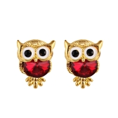 Fashion Naughty Owl Crystal Rhinestone Sparkle Cubic Cyrkon Ear Studs Earrings Women Jewelry