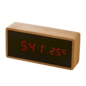 Digital LED Bamboo Alarm Clock Wooden Rectangle Clock Multifunctional Noiseless Mirror Clock