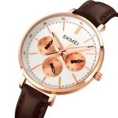 SKMEI 1665 Quartz Women Watch Multifunction Stylish Elegant Wrist Watch Casual Business Ladies Wristband with Leather Strap/30M Waterproof Time/Week/Date/24-Hour Display