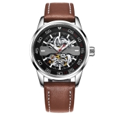 OCHSTIN Fashion Business Genuine Leather Automatic Relojes Hombre mecánico 3ATM resistente al agua Luminous Casual Man Reloj de pulsera