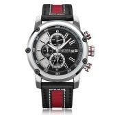 MEGIR 2079 Fashion Męski skórzany pasek Sportowy zegarek kwarcowy