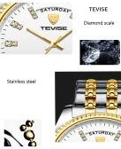 TEVISE T833Aビジネス男性自動機械式時計タイムカレンダー表示ファッションカジュアルステンレススチールストラップ3atm防水発光針男性腕時計