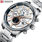 CURREN Men Watch Quartz Movement Stainless Steel Strap Time & Calendar Display Stopwatch Function 3ATM Waterproof Male Fashion Wristband for Business & Daily Life