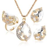 Gioielli di moda placcati oro Set pendente goccia di cristallo Orecchini collana pavone a tre pezzi per la femmina