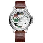 TEVISE T815A Edelstahl Uhr Armbanduhr Top-marke Luxus Quarzuhr Männer Casual Leder Leuchtende Wasserdichte Mondphase Uhr