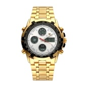 Men Multi-Functional Dual Display Wristwatch Fashion Alloy Band Digital Waterproof Sports Watch