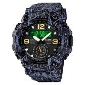 Montre de sport numérique pour homme SKMEI Classic 5ATM Montre de sport étanche avec alarme Chronomètre Rétroéclairage LED Double affichage Montre-bracelet analogique électronique Format 12/24