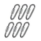Mosquetón de bloqueo de tornillo de aluminio multifuncional en forma de D, paquete de 6