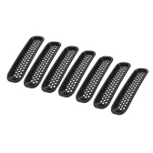 7PCS Декоративный круг Передняя решетка Вставка Mesh Light Circle Grille Guard на 2007-2018 гг. Jeep Wrangler JK 2 Door Unlimited 4 двери Спорт Sahara Freedom Rubicon
