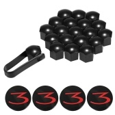 4Pcs Car Wheel Hub Center Cap Cover Base and 21Pcs Gloss Black Wheel Nut Caps