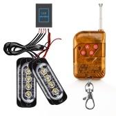 Luces estroboscópicas LED Luces de emergencia con luz de flash de control remoto para vehículos, furgonetas, camiones, montaje en superficie
