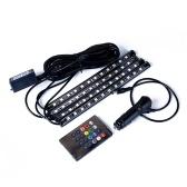 Авто Внутренний RGB 12 LED Strip Light Kit Музыка Управление Красочные Украшения Автомобиля Lightstrip