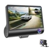 Câmera do carro DVR 4.0in Lente de 3 Vias Gravador de Condução de Vídeo Vista Traseira Auto Registrator Com 2 Câmeras Traço Cam DVRS Carcorder Night Vision Monitor de Estacionamento