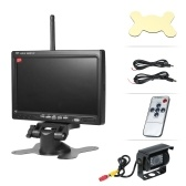 "Wireless&Wired Double Use 7"" LCD Monitor Backup Camera Waterproof Rear View Kit with Wide Angle Camera Night Vision Parking for Truck RV Trailer Motorhome Bus Camper"