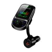Émetteur FM de voiture de 1,8 pouces Lecteur MP3 multifonctionnel avec double port de chargement USB Écran couleur TFT sans fil BT