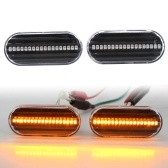 2pcs Dynamic Smoked LED Side Marker Lights Lens Fender Replacement For VW MK4 Jette Beetle