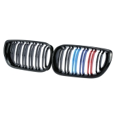 Um par de Gloss Black M-color Car Grade dianteira Grades de BMW E46 4 portas 2002-2006