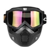 Masque mortorcycle lunettes détachables et filtre de bouche pour le snowboard de motocross de casque de casque ouvert