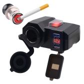 Socket de carregamento USB impermeável Suporte de força da braçadeira da motocicleta Adaptador de alimentação do USB Sistema de carregamento USB