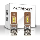 NOVSIGHT H3 60W 1800lm Car Led Faros Antiniebla Cobre Conducción de Calor 6000 K Blanco Faros antiniebla Bombillas