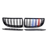 4Pcs Front Bumper Grille Gloss Black Kidney Grilles Mix-Color Replacement for BMW 3-Series E90 Sedan/Wagon 2004-2007