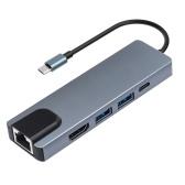 Hub multiporta, hub di tipo C, display 4K HD, USB 3.0 e lettore di schede adattatore dati di tipo C compatibile con sistemi Windows / macOS / Android / iOS / Linux