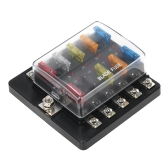 10 Way Blade Fuse Box with LED Indicator Fuse Block for Car Boat Marine Caravan 12V 24V