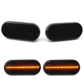 1 Pair 2 Pcs Dynamic LED Smoked LED Side Marker Lights Lens Fender For Volkswagen Bora Golf 4