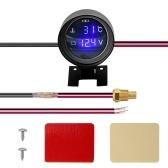 Round LED Digital Car Truck Water Temp Gauge Temperature Sensor Temperatura Moto + Voltmeter Volt Voltage Meter 2 in 1 12V 24V