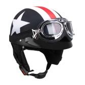 Половина открытым лицом Шлем мотоцикла с Goggles Visor шарф Байкер Scooter Touring шлем для Harley