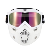 Máscara Mortorcycle Óculos removíveis e filtro de boca para capacete de rosto aberto Motocross Ski Snowboard