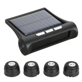 Wireless Solar Car Tire Pressure Monitoring System DIY TPMS with 4 External Sensors Bar/PSI Unit