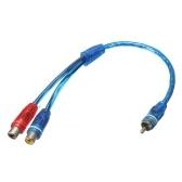 Connettore RCA da 1 maschio a 2 connettori femmina per cavo audio stereo con adattatore jack stereo