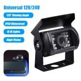 12V/24V Car Backup Camera IP68 Waterproof Rear View Parking Camera 18 IR Lights Night Vision 120° Wide Viewing Angle Reversing Cameras