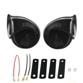 2 Pcs Car Horn Black Universal 12v Loud Dual-tone Snail Electric Horn 140db for Car Truck Motorcycle
