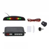 Sensor de coche Copia de seguridad inversa Vista posterior Kit de sistema de alarma de radar Pantalla digital Negro