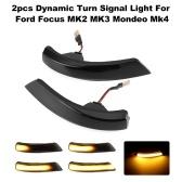 2 unidades de luz de sinalização dinâmica LED lateral asa espelho retrovisor indicador luz pisca-pisca substituição para Ford Focus MK2 MK3 Mondeo Mk4