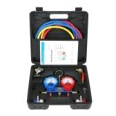 AC Diagnostic Manifold Gauge Set HVAC Diagnostic Tool for Auto Household R22 R134A R404A R410A Refrigerant 5FT Hose Adjustable Quick Coupler