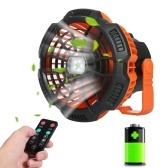 Ventilador recargable USB 2 en 1 con luz LED Ventilador portátil para pesca Camping Oficina Banco de energía de emergencia