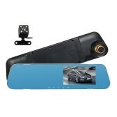 4.3 '' HD Carro DVR Traço Cam Câmera de Vídeo Do Veículo Gravador de Condução Frente & Espelho Retrovisor DVR Carro com Gravação em Loop G-Sensor de Detecção de Movimento