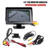 "Wire-less IR Reversing Parking Camera+4.3"" LCD Monitor Foldable Car Rear View Kit"