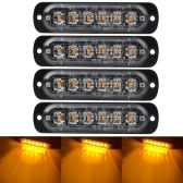 4 PCS Emergency Warning Lights for Vehicles Trucks Emergency Beacon Warning Hazard Flash Strobe Light 6 LED Surface Mount Waterproof