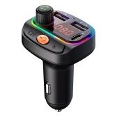 Автомобильное зарядное устройство USB C BT FM-зарядное устройство Цветная подсветка для громкой связи Музыкальный плеер с двойным USB-портом